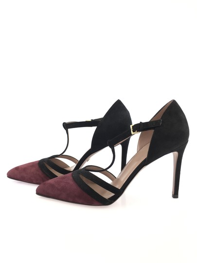 Gucci Suede Leather T Strap Heel Black and Burgundy Pumps Image 3