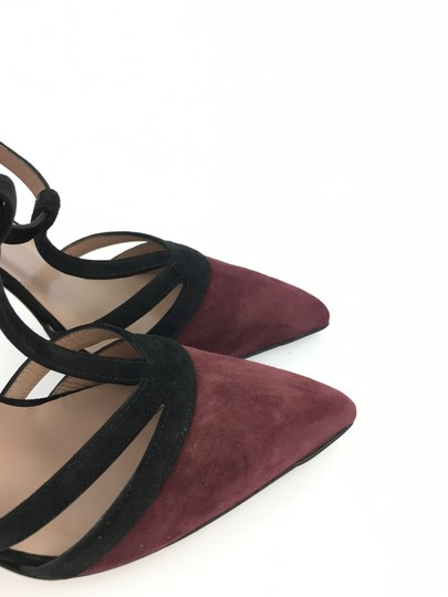 Gucci Suede Leather T Strap Heel Black and Burgundy Pumps Image 4