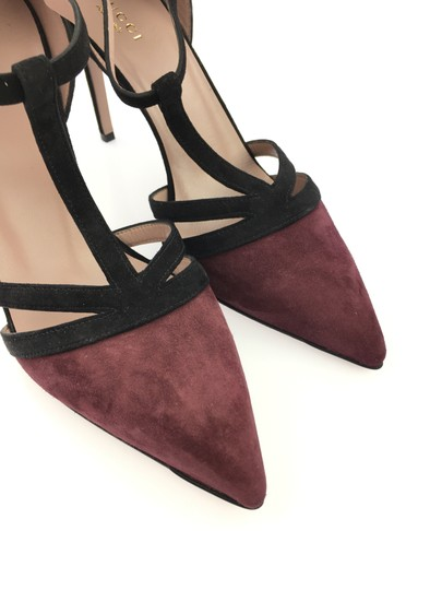 Gucci Suede Leather T Strap Heel Black and Burgundy Pumps Image 5