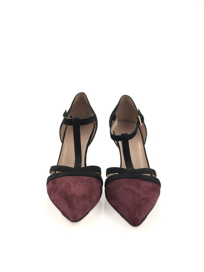 Gucci Suede Leather T Strap Heel Black and Burgundy Pumps Image 6