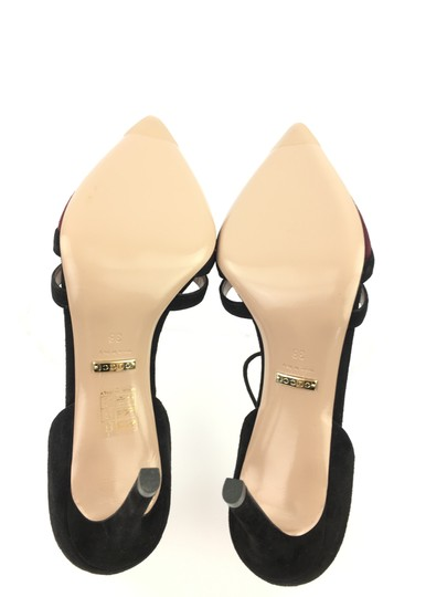 Gucci Suede Leather T Strap Heel Black and Burgundy Pumps Image 7