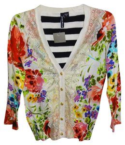 Anthropologie Floral Knit Ivory Lace Accents Contrast Stripes Golden Buttons Soft Comfy Cotton Cardigan
