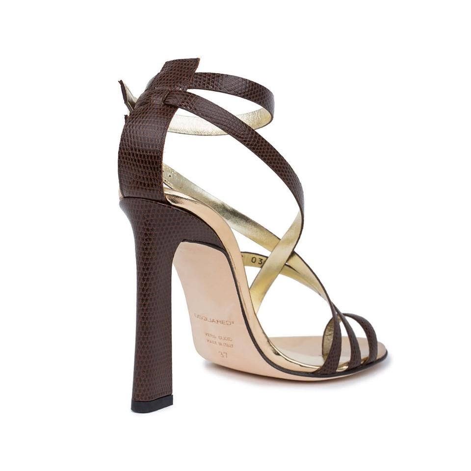 873f0e0be2a Dsquared2 Brown New Genuine Lizard Embossed Leather Toe-ring High Heels  Sandals