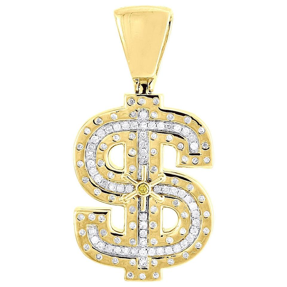 Jewelry for less yellow gold diamond dollar sign pendant 10k money jewelry for less yellow gold diamond dollar sign pendant 10k money symbol 054 ct charm biocorpaavc Images