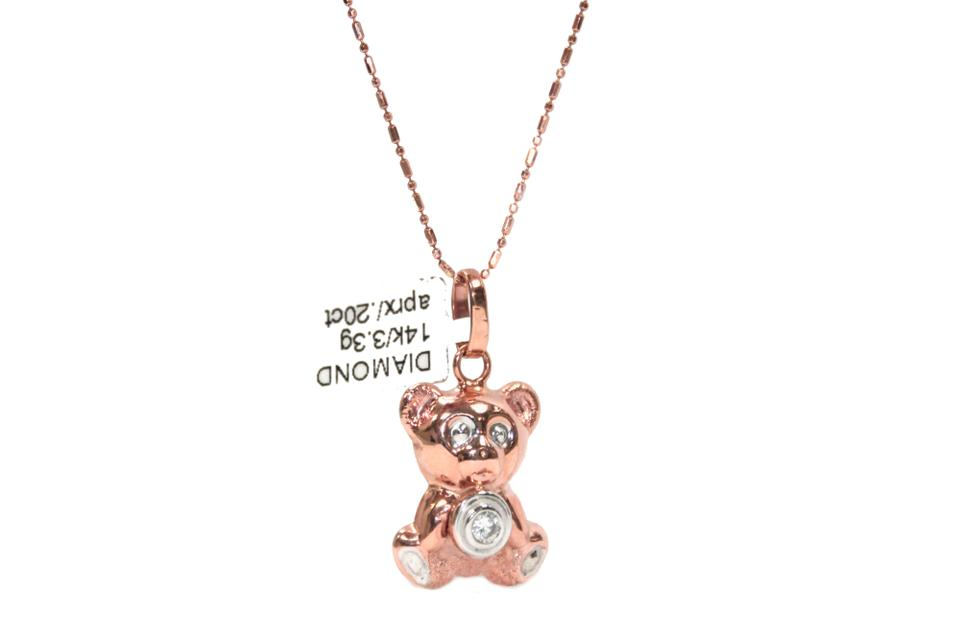 Pink 14k rose gold chain with diamond bear pendant necklace tradesy other 14k rose gold chain with diamond bear pendant necklace aloadofball Gallery