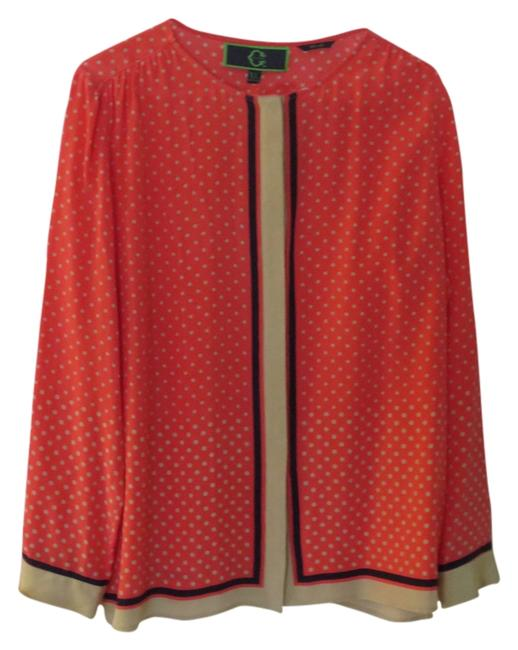 Preload https://img-static.tradesy.com/item/2300512/coral-with-white-polka-dots-and-navy-border-button-down-top-size-16-xl-plus-0x-0-0-650-650.jpg