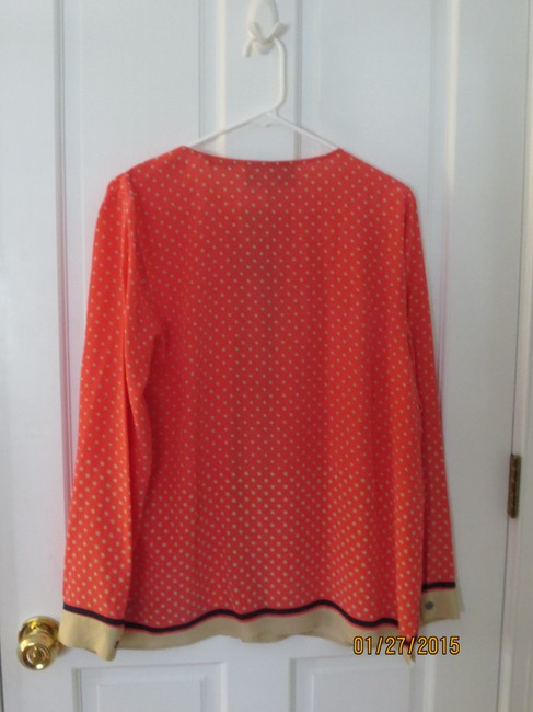 Other Button Down Shirt Coral with White Polka Dots and Navy Border