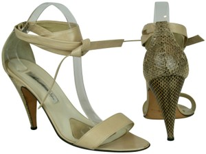 BRIAN ATWOOD Leather Snakeskin Ankle Strap NUDE, BEIGE Sandals
