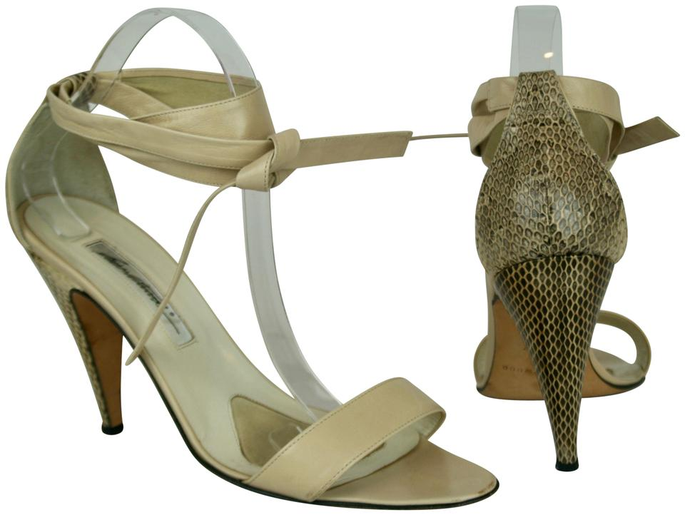 8d23d5f76f7 Brian Atwood Nude Beige Leather Snakeskin Ankle Straps Sandals Size EU 40  (Approx. US 10) Regular (M, B) 77% off retail