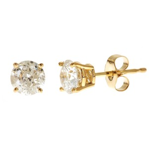 Yellow Gold 1ct. Genuine Round Diamonds Solitaire 14k Earrings