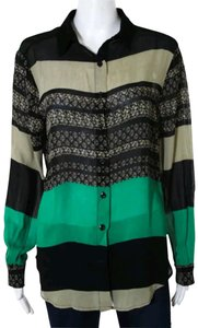 Sam & Lavi Anthropologie Rayon Shirt Longsleeve Button Down Shirt Black green beige