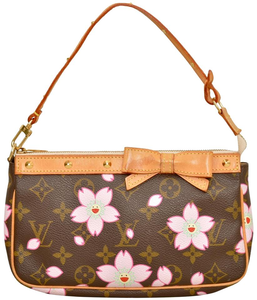 b6f700ffcd8a Louis Vuitton Pochette Pouch Clutch Cherry Blossom Wristlet in Brown Image  0 ...
