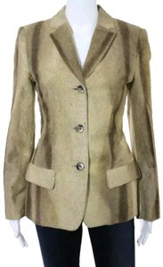René Lezard Fur Cotton Blazer Cotton Longsleeve Brown Blazer Tan beige multi Jacket