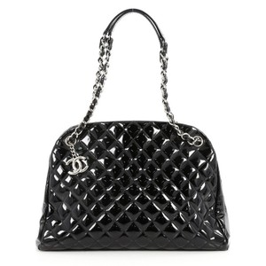 e53aa3e21ab3 Chanel Mademoiselle Just Handbag Quilted Patent Large Black Leather  Shoulder Bag