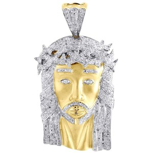 Jewelry For Less Mens Diamond Jesus Face Pendant 925 Sterling Silver Pave Charm 1.15 Ct