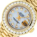 Rolex Rolex Ladies Datejust 18K Yellow Gold Mop Diamond Dial Watch 2.10 CT