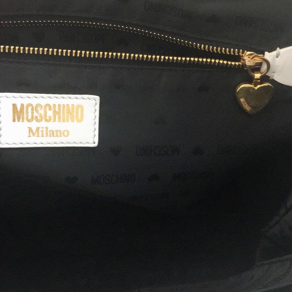 Version Classic Show Tote Lambskin Leather Moschino Fashion White Faqppx