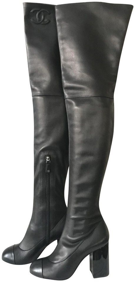 fe6acf2ca64 Chanel Black 17b Stretch Lambskin Leather Thigh High Over Knee Heels Boots /Booties