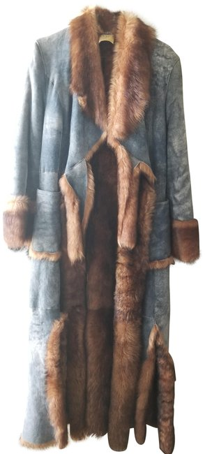 Item - Blue Toscana Shearling and Brown Fox Fur Full Length Haute Couture Coat Size 8 (M)