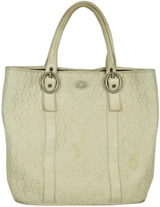Céline Leather Embroidered Shopper Tote in CREAM, IVORY