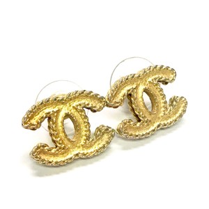Chanel Gold CC Ruffled Edge Pierced Earrings with Box