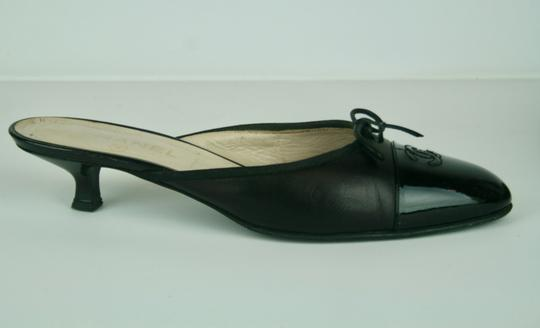 Chanel Leather Patent Bow Kitten Logo BLACK Mules Image 1