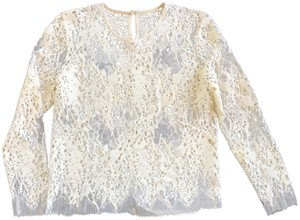 Mason by Michelle Mason Lace Sheer Longsleeve Delicate Evening Top ivory