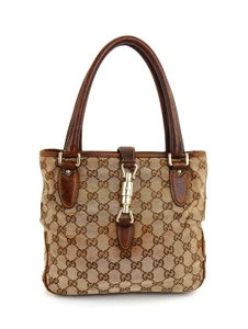 Gucci Monogram Shopper Italy Vintage Tote in Brown