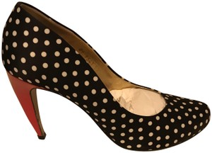 Walter Steiger Navy Blue with white Polka Dots and Red Heel Pumps