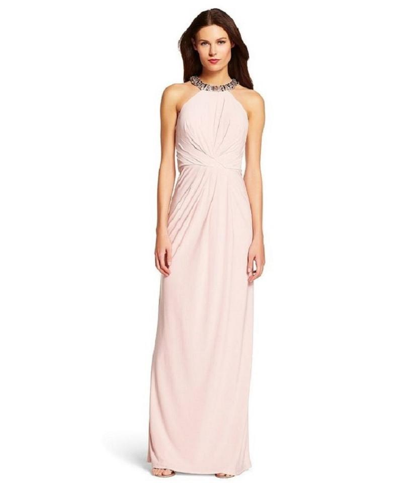 Adrianna Papell Pink Beaded Halter Neck Jersey Gown Long Formal ...