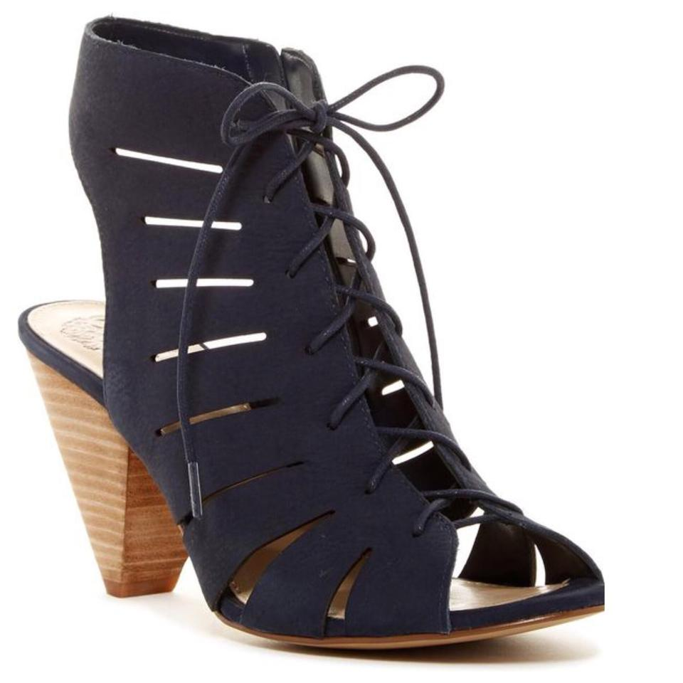 d364f9b184d0 Vince Camuto Blue Estie Cutout Leather Lace-up Heeled Sandals Size ...