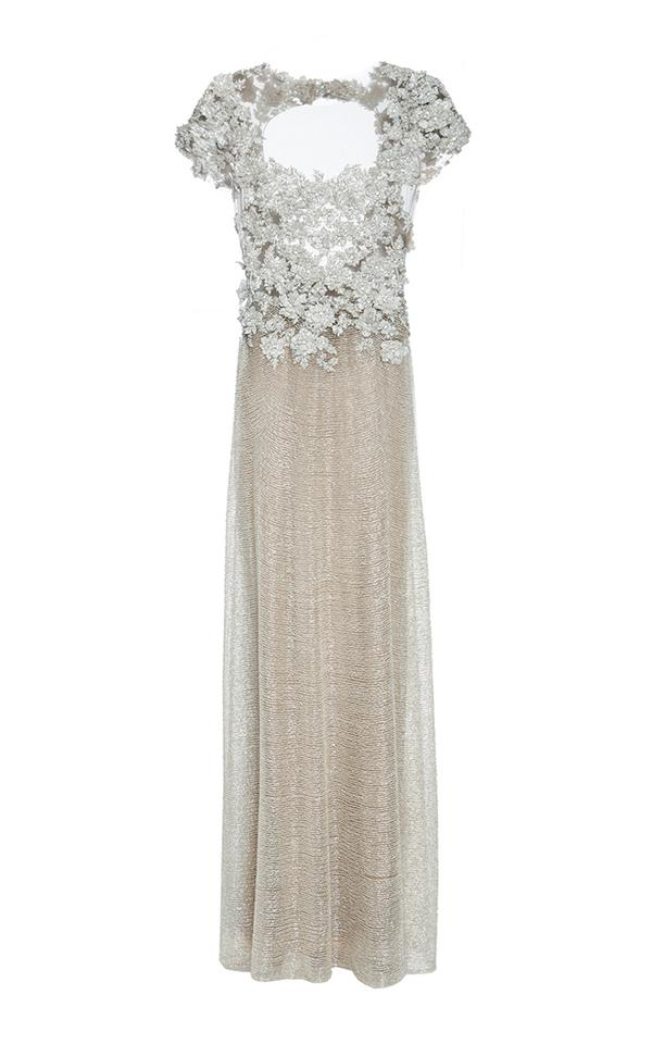 108c23ac6 Marchesa Silver Gold Sequined Gown Long Night Out Dress Size 8 (M ...