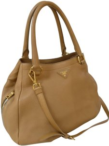 Prada Leather Tan Satchel Tote Cross Body Bag
