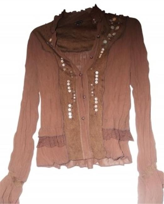 Preload https://item3.tradesy.com/images/bcbgmaxazria-brown-ruffle-long-sleeves-blouse-size-12-l-23007-0-0.jpg?width=400&height=650