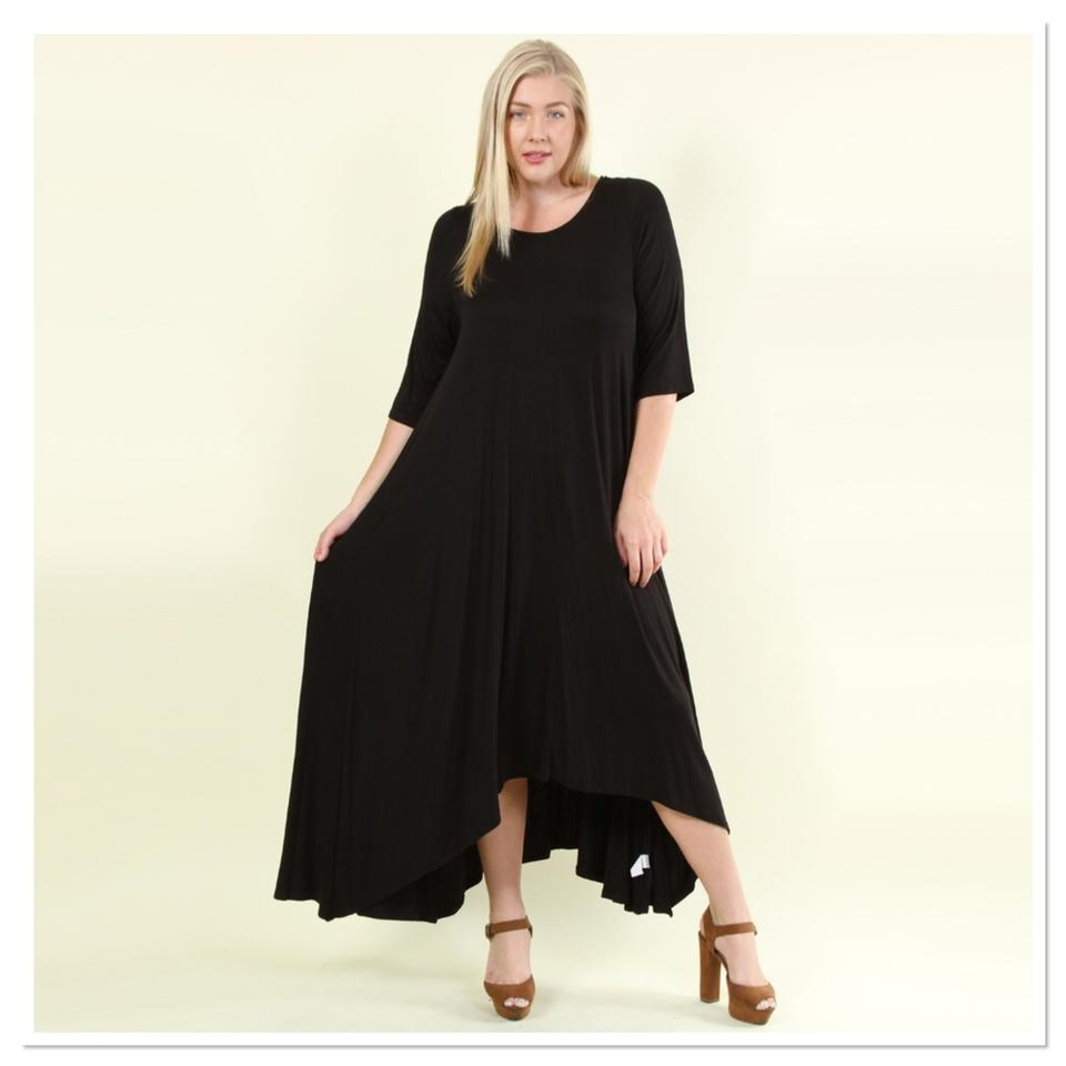 Black New Asymmetrical Hem Long Casual Maxi Dress Size 24 (Plus 2x)