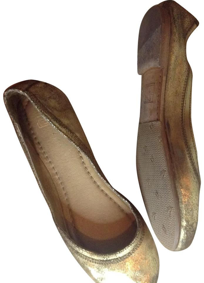 Frye Distressed Gold Carson Ballet Flats Size US 8.5 Regular (M, B ...