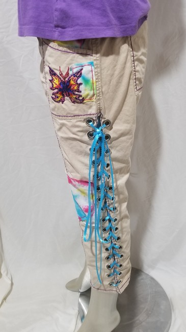 Express Butterfly Tydye Hippie 6waist Capri/Cropped Pants Light Khaki