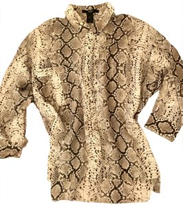 Smythe Silk Snake Designer Coverup Top Brown python