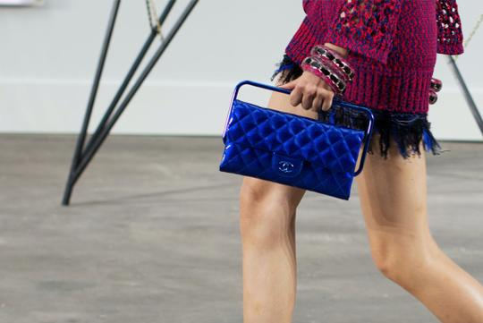 Chanel Patent Frame 2014 Runway Blue Clutch