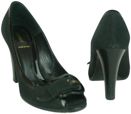 Preload https://item4.tradesy.com/images/fendi-black-fabric-and-patent-leather-with-b-buckle-and-peep-toe-pumps-size-eu-395-approx-us-95-regu-23007228-0-1.jpg?width=440&height=440