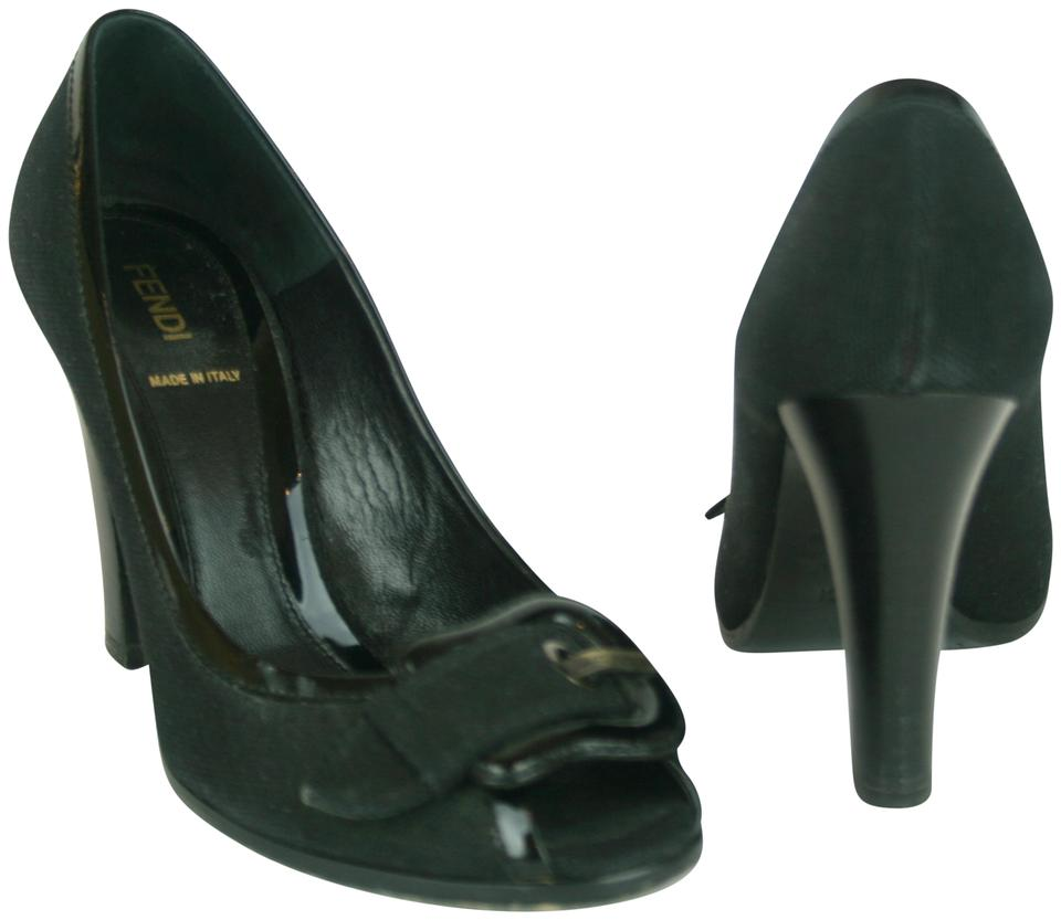 d95a173a76 Fendi Black Fabric & Patent Leather with B Buckle & Peep Toe Pumps ...