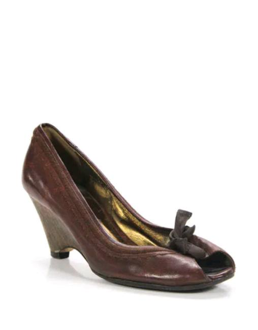 Item - Brown By Prada Leather Peep Open Wedges Sandals 8.5 Pumps Size EU 38.5 (Approx. US 8.5) Regular (M, B)