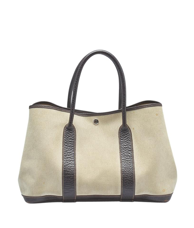 Hermès Garden Party 30 Pm Brown Leather (145173) Beigexbrown Canvas ... 91ecfced3e5be