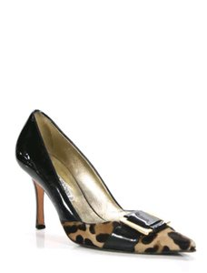 Luciano Padovan Pointed Toe Heels Patent Leather Leopard and black Pumps