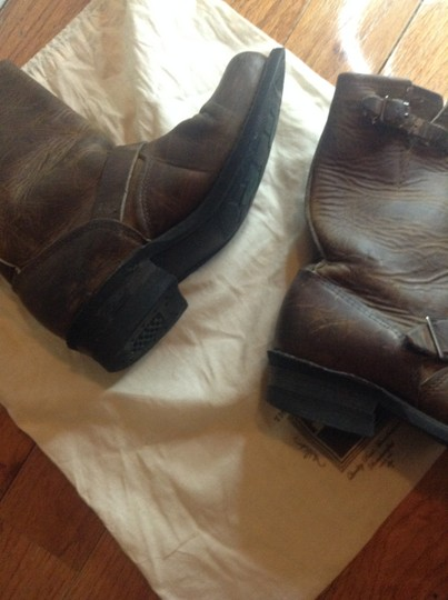 Frye Moto Strap Buckles Leather Boho Oiled Tan Boots