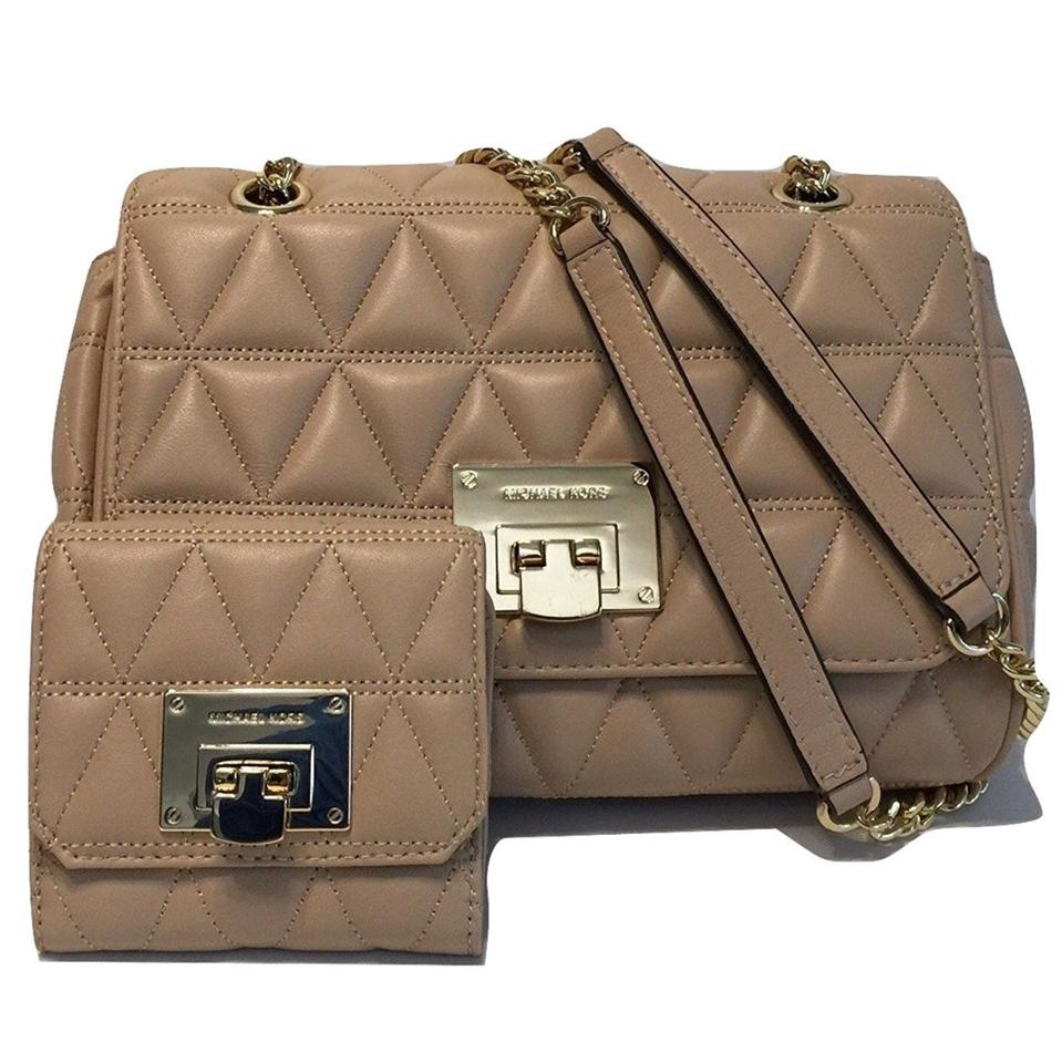 Michael Kors Vivianne Flap Quilted And Wallet Set Tan