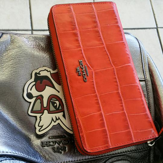 Coach coach crocs embossed leather accordion wallet 58048