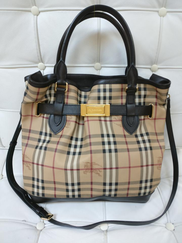 612a02381f5c Burberry Haymarket Check Golderton Pvc Trim Tote Brown Leather Cross Body  Bag - Tradesy