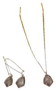 Kendra Scott Kendra Scott SET Necklace Earrings in Crystal Gray Illusion Rose Gold