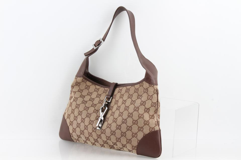 d3340892bb0 Gucci Jackie Classic Gg Monogram Signature Hobo Brown Canvas ...